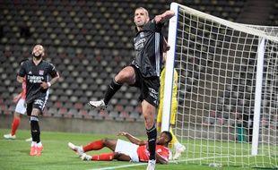 Auteur du cinquième but, Slimani exulte. Son équipe peut toujours rêver d'une qualification en Ligue des champions.