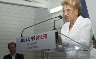 Lucette Michaux-Chevry le 7 avril 2016 à Baie-Mahault, en Guadeloupe.