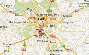 Carte indiquant la localisation de Brétigny-sur-Orge (Essonne).