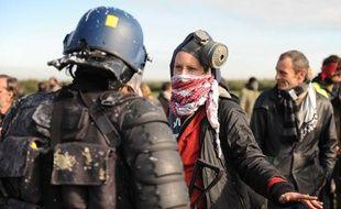 Des manifestants font face aux gendarmes, le 25 octobre 2012. ils s'oppposent à la construction d'un aéroport à Notre-Dame-des-Landes.