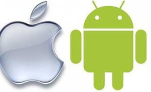 Les logos d'Apple et d'Android, l'OS mobile de Google.