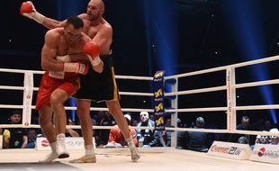 Le Britannique Tyson Fury lors de sa victoire contre Wladimir Klitschko, le 28 novembre 2015 à Dusseldorf.