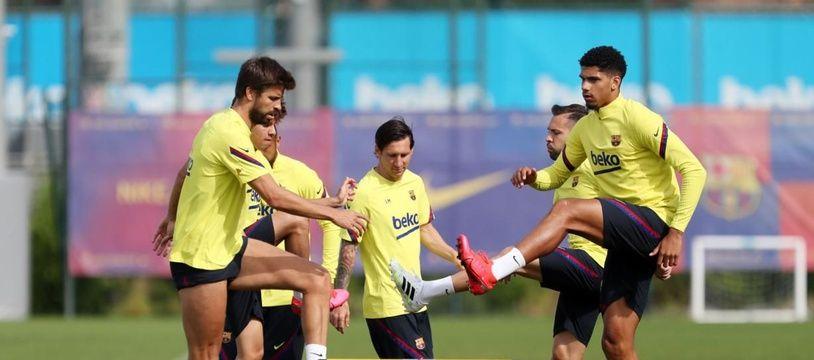 """Lionel Messi et ses coéquipiers du Barça ont repris l'entraînement collectif ce lundi (photo du 25 mai 2020) Miguel RUIZ / FC BARCELONA / AFP) / RESTRICTED TO EDITORIAL USE - MANDATORY CREDIT """"AFP PHOTO / HANDOUT / FC BARCELONA / MIGUEL RUIZ"""" - NO MARKETING - NO ADVERTISING CAMPAIGNS - DISTRIBUTED AS A SERVICE TO CLIENTS"""