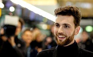 Le candidat néerlandais Duncan Laurence, le 6 mai 2019 avant son départ pour l'Eurovision de Tel-Aviv (Israël).