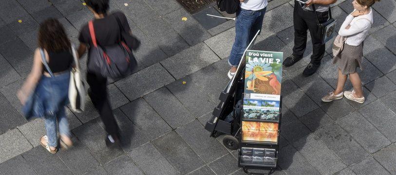 Illustration de témoins de Jéhovah, à Nantes en 2018.