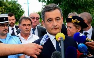 Port-Sainte-Marie, le 7 juillet 2020. Gérald Darmanin effectue une visite dans une caserne de gendarmerie, au lendemain de sa nomination comme ministre de l'Intérieur.