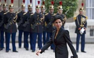 French Justice Minister Rachida Dati arrives at a dinner attended by France's President Nicolas Sarkozy and U.S. President George W. Bush at the Elysee Palace in Paris, June 13, 2008. REUTERS/Philippe Wojazer (FRANCE)