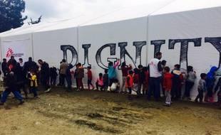 Dans le camp de réfugiés d'Idomeni, village grec frontalier de la Macédoine où sont bloqués des milliers de migrants.