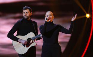 Le duo Madame Monsieur (Jean-Karl Lukas et Emilie Satt) à la finale de Destination Eurovision 2018.