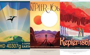 Affiches touristiques présentant trois exoplanètes, décembre 2014.