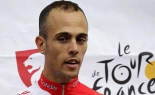 Le coureur français Rémy Di Gregorio, lors de la présentation du Tour de France, le 28 juin 2018 à Liège.