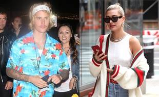 Justin Bieber à Los Angeles et Hailey Baldwin à New York.