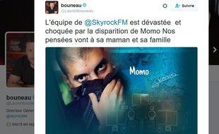 Le directeur des programmes de Skyrock a annoncé la mort de Momo sur son compte Twitter.