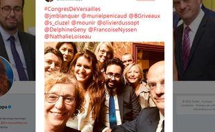 Capture d'écran du compte Twitter de Marlène Schiappa, qui a posté un selfie de ministres, lundi 9 juillet.