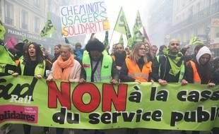 Manifestation de cheminots le 3 avril 2018 à Paris.