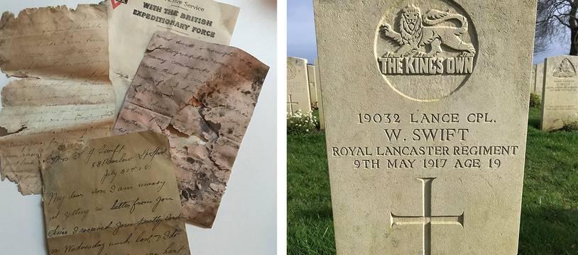 Les lettres et la tombe du soldat William Swift.