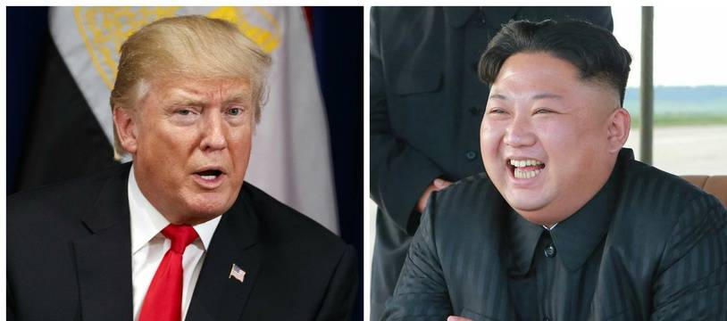 Photomontage de Donald Trump et Kim Jong-Un.
