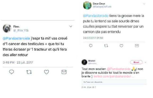 Capture d'écran des appels au suicide et insultes sur Twitter.