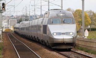 MAUVES SUR LOIRE, le 25/11/2013 Un TGV entre Nantes et Angers