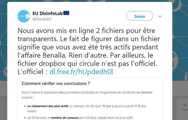 EU Disinfo Lab divulgué deux tableaux Excel répertoriant les noms des comptes ayant tweeté sur l'affaire Benalla.