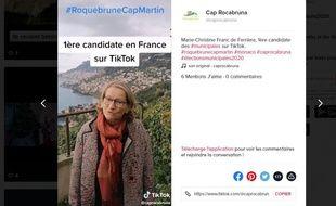 Candidate à Roquebrune-Cap-Martin (Alpes-Maritimes), Marie-Christine Franc de Ferrière est la première candidate en France a avoir ouvert un compte sur TikTok.