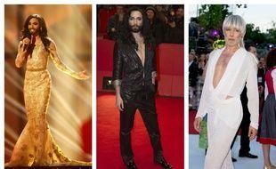 Conchita Wurst à l'Eurovision 2014, à la Berlinale 2017 et au Life Ball de Vienne 2018.