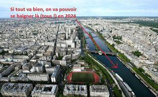 La Seine et Paris vus depuis le 3e étage de la Tour Eiffel.