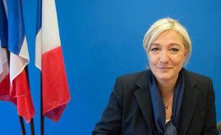 Marine Le Pen, le 4 décembre 2013, au siège du FN à Nanterre.