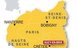 Carte de localisation de Sucy-en-Brie, où un lycéen a été blessé par un tir de fusil à pompe le 15 décembre 2009.