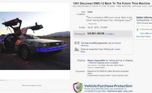 Une DeLorean DMC-12 de Retour vers le Futur a trouvé preneur sur eBay le 3 août 2016 pour 51.000 dollars
