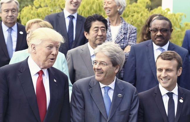 Le Président américain Donald Trump, le Premier ministre italien Paolo Gentiloni et le Président français Emmanuel Macron lors du sommet du G7 à Taormina, en Italie.