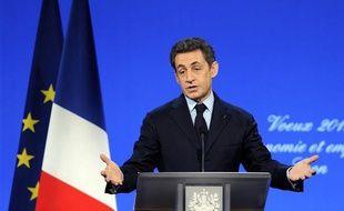 Nicolas Sarkozy, lors de ses voeux au monde économique, à Lyon, mercredi 19 janvier 2012.