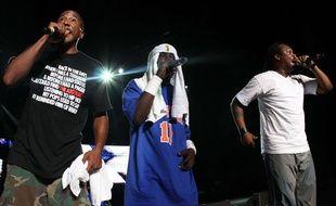 De gauche à droite : Q-Tip, Phife Dwag et Jarobi White du groupe A Tribe Called Quest à Rock the Bells en 2008