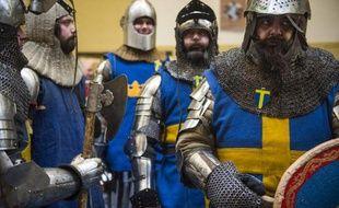"""L'équipe suédoise """"Goteborg"""" s'apprête à participer le 31 janvier 2015 à un combat médiéval, l'""""Ascension des Chevaliers"""" dans un hangar de Bernau, près de Berlin"""