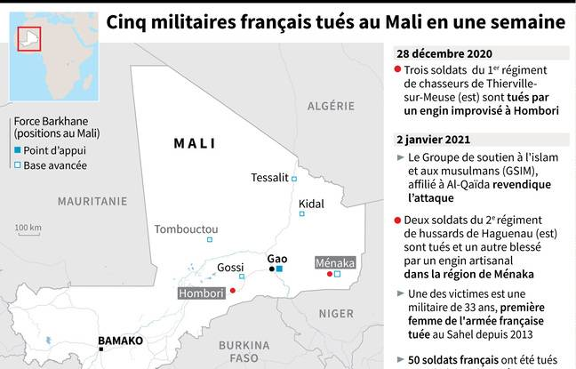Carte de localisation de Ménaka où deux militaires français ont été tués le 2 janvier 2021.