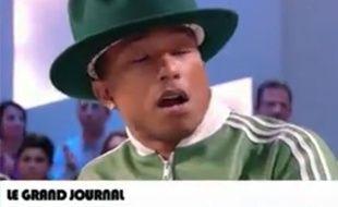 Le chanteur Pharrell Williams sur le plateau du «Grand Journal».