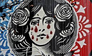 La Marianne d'Obey dans le 13e arrondissement de Paris. Credit:HOUPLINE-RENARD/SIPA/2012141837