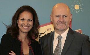 Isabelle Giordano (g),  directrice générale d'Unifrance et Jean-Paul Salome, président de l'organisme chargé de la promotion du cinéma français à l'étranger, à Paris, le 15 janvier 2016