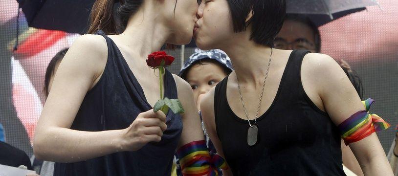 Taipei, le 17 mai 2019. - Taïwan est le premier d'Asie a légalisé le mariage homosexuel.