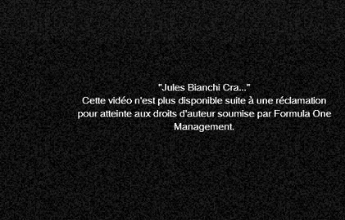 Capture d'écran d'une vidéo de l'accident de Jules Bianchi postée sur Youtube, le 6 octobre 2014. – Capture d'écran 20 Minutes