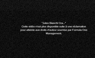 Capture d'écran d'une vidéo de l'accident de Jules Bianchi postée sur Youtube, le 6 octobre 2014.