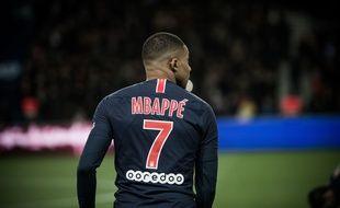 Kylian Mbappé lors du match PSG-OM au Parc des Princes, le 17 mars 2019.