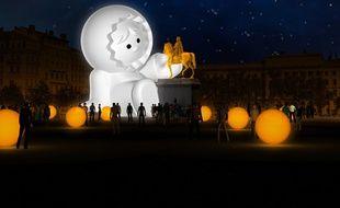 La scénographie imaginée place Bellecour à Lyon, pour la Fête des lumières 2018.
