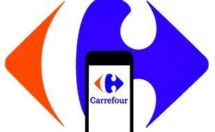 Illustration du logo de Carrefour.
