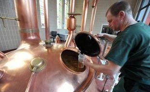 Un employé surveille la fermentation de la bière dans une brasserie le 19 février 2014 (illustration)