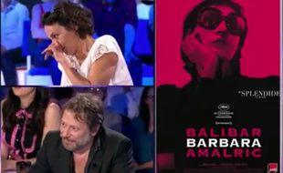 Jeanne Balibar et Mathieu Amalric en promo de «Barbara». Capture d'«On n'est pas couché»