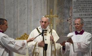 Le pape François lors de la messe de Pâques de ce 12 avril 2020.