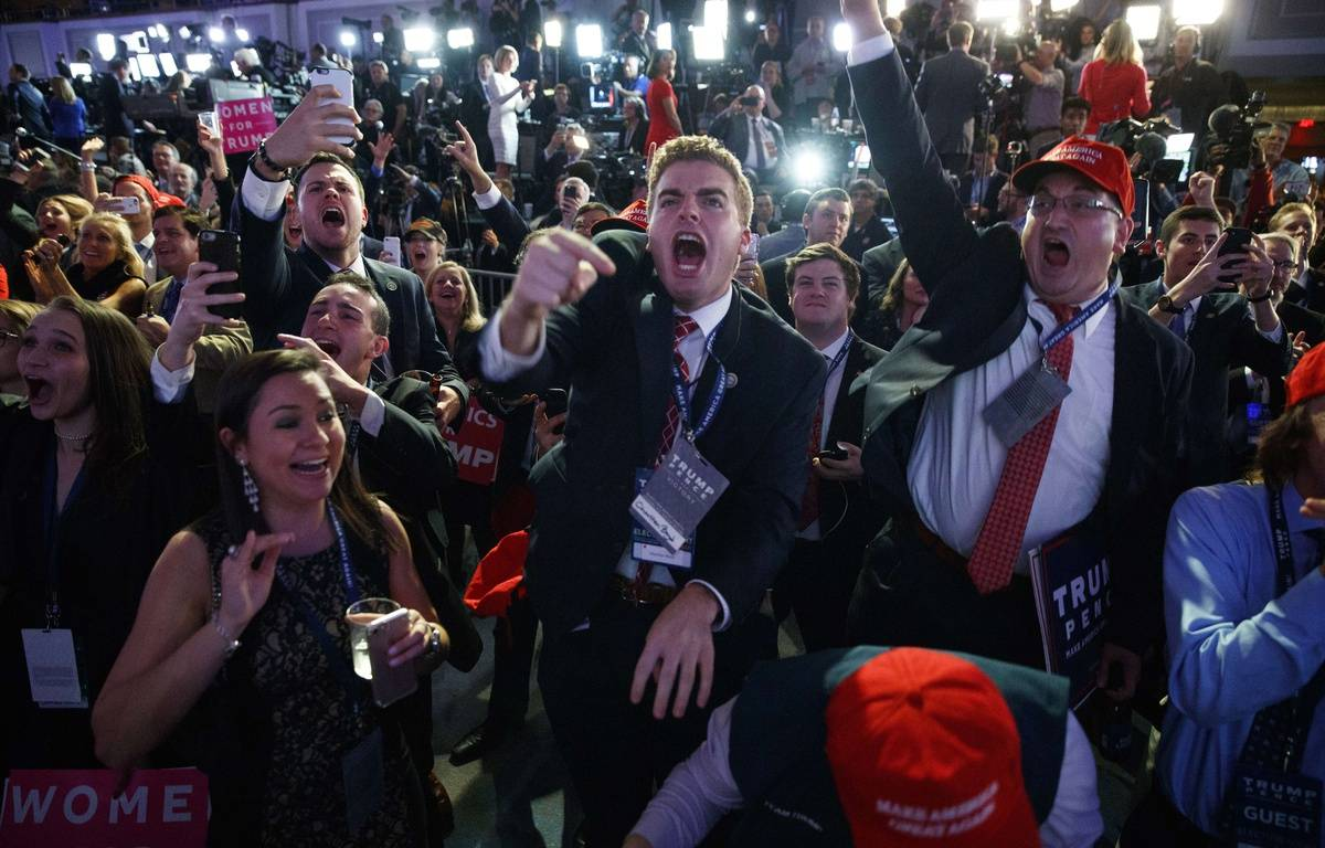 Des supporters de Donald Trump à l'annonce de sa victoire, le 9 novembre 2016. –  Evan Vucci/AP/SIPA