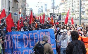 Selon les syndicats, 8.000 personnes ont défilé contre la loi Travail à Rennes, le 26 mai 2016.