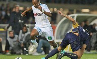 L'attaquant de l'OM, André Ayew, lors d'un match de L1 contre Arles-Avignon, le 18 septembre 2010 à Avignon.